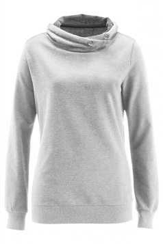 Womens Eyelet Stand Collar Long Sleeve Pocket Plain Hoodie Light Gray