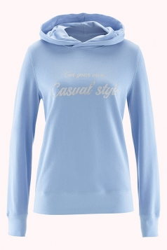 Womens Casual Hooded Long Sleeve Words Printed Hoodie Blue