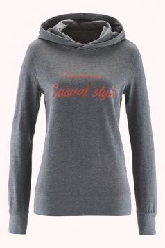 Womens Casual Hooded Long Sleeve Words Printed Hoodie Dark Gray