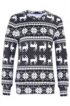 Womens Snowflake Reindeer Ugly Christmas Sweatshirt Black And White