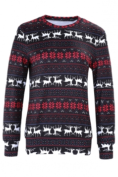 Womens Crew Neck Snowflake Reindeer Ugly Christmas Sweatshirt Black