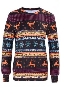 Womens Crew Neck Snowflake Reindeer Ugly Christmas Sweatshirt Burgundy