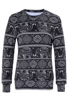 Womens Snowflake Reindeer Ugly Christmas Sweatshirt Dark Gray