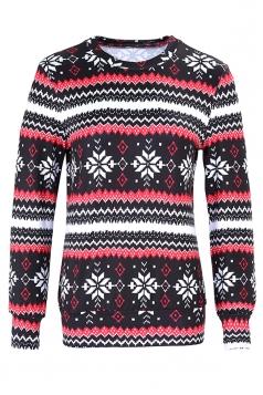 Womens Snowflake Reindeer Ugly Christmas Sweatshirt Multicolor