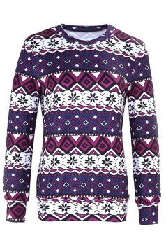 Womens Crew Neck Snowflake Reindeer Ugly Christmas Sweatshirt Purple