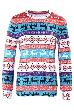 Womens Snowflake Reindeer Ugly Christmas Sweatshirt Watermelon Red