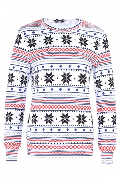 Womens Crew Neck Snowflake Reindeer Ugly Christmas Sweatshirt White