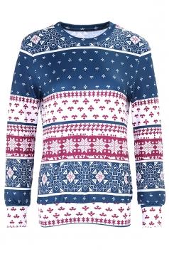 Womens Snowflake Reindeer Ugly Christmas Sweatshirt Navy Blue