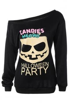 Womens One Shoulder Pumpkin Printed Halloween Sweatshirt Black
