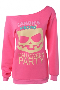Womens One Shoulder Pumpkin Printed Halloween Sweatshirt Pink