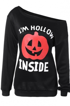 Womens One Shoulder Pumpkin Printed Halloween Sweatshirt Black