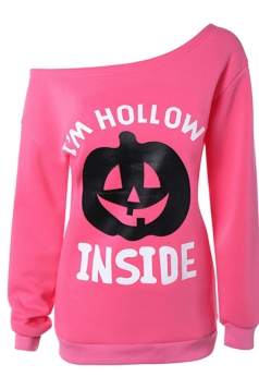Womens One Shoulder Pumpkin Printed Halloween Sweatshirt Pink