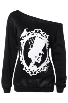 Womens One Shoulder Skull Printed Halloween Sweatshirt Black
