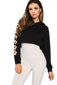 Womens Fashion Drawstring Raglan Sleeve Short Printed Hoodie Black
