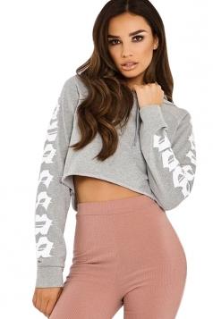Womens Fashion Drawstring Raglan Sleeve Short Printed Hoodie Gray