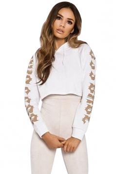 Womens Fashion Drawstring Raglan Sleeve Short Printed Hoodie White