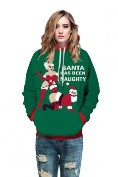 Drawstring Kangaroo Pocket Santa Printed Christmas Hoodie Army Green