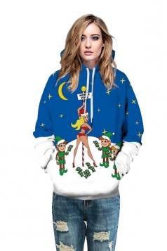 Drawstring Kangaroo Pocket Snowman Printed Christmas Hoodie Blue