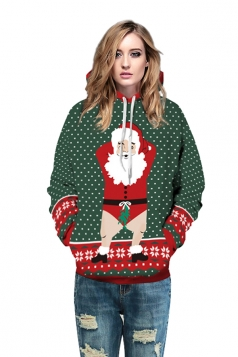 Womens Drawstring Snowflake Santa Printed Christmas Hoodie Dark Green