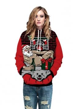 Womens Drawstring Striped Santa Printed Christmas Hoodie Dark Red