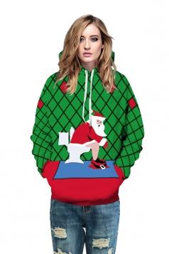 Womens Drawstring Plaid Santa Printed Christmas Hoodie Emerald?Green