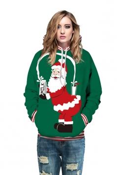 Drawstring Kangaroo Pocket Striped Santa Printed Christmas Hoodie Green