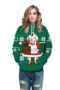 Women Drawstring Snowflake Santa Printed Christmas Hoodie Oliver Green