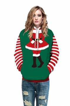 Drawstring Kangaroo Pocket Striped Santa Printed Christmas Hoodie Red