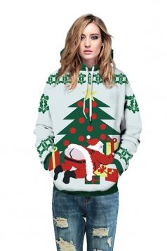 Womens Drawstring Tree Santa Printed Christmas Hoodie White