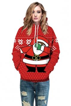 Womens Drawstring Kangaroo Pocket Santa Printed Christmas Hoodie Ruby