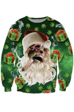 Womens Crew Neck Ghost Printed Halloween Sweatshirts Chestnut