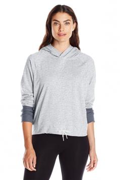 Womens Long Sleeve Drawstring Color Block Plain Hoodie Dark Light Gray