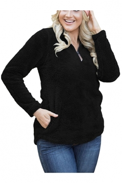 Womens Zipper Stand Collar Slant Porket Plush Plain Sweatshirt Black