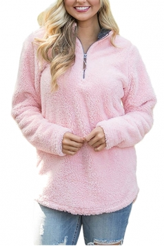 Womens Zipper Stand Collar Slant Porket Plush Plain Sweatshirt Pink