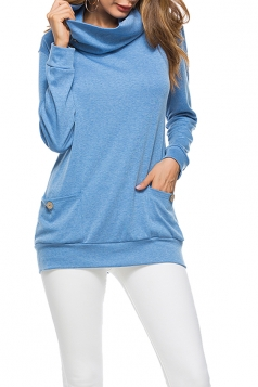 Womens Casual Turtleneck Long Sleeve Pocket Plain Sweatshirt Blue