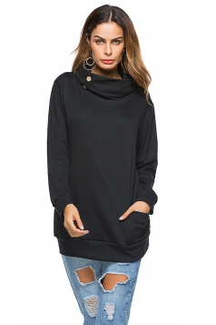 Womens Casual Turtleneck Long Sleeve Pocket Plain Sweatshirt Black