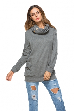 Womens Casual Turtleneck Long Sleeve Pocket Plain Sweatshirt Gray