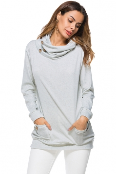 Womens Turtleneck Long Sleeve Pocket Plain Sweatshirt Light Gray