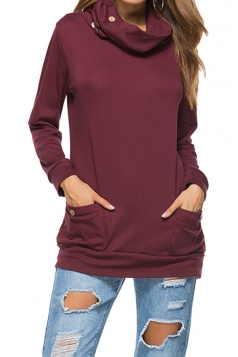Womens Casual Turtleneck Long Sleeve Pocket Plain Sweatshirt Ruby