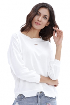 Womens Casual Oversized Long Sleeve Cut Out Plain T-Shirt White