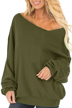 Womens Oversized Cold Shoulder Long Sleeve Plain Sweatshirt Army Green