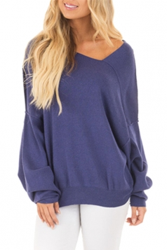 Womens Oversized Cold Shoulder Long Sleeve Plain Sweatshirt Blue
