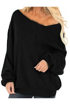 Womens Oversized Cold Shoulder Long Sleeve Plain Sweatshirt Black