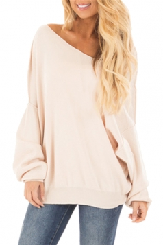Oversized Cold Shoulder Long Sleeve Plain Sweatshirt Beige White