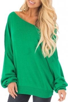 Womens Oversized Cold Shoulder Long Sleeve Plain Sweatshirt Green