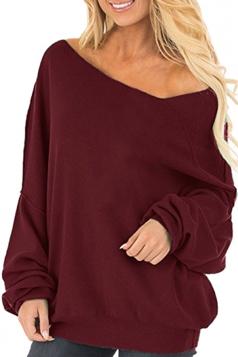 Womens Oversized Cold Shoulder Long Sleeve Plain Sweatshirt Ruby