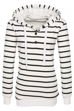 Womens Fashion Drawstring Button Design Stripe Plain Hoodie White