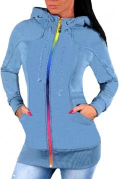 Womens Drawstring Stand Collar Zipper Plain Hoodie With Pocket Blue