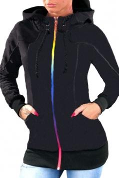 Womens Drawstring Stand Collar Zipper Plain Hoodie With Pocket Black