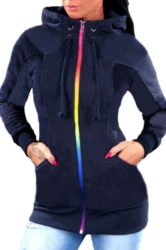 Womens Drawstring Stand Collar Zipper Plain Hoodie Pocket Navy Blue